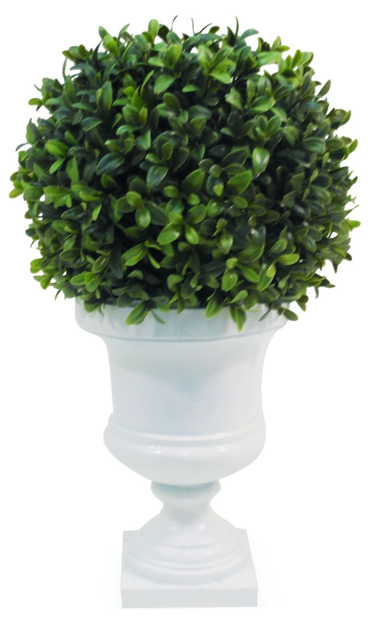 """14"""" Boxwood Ball in Urn, Faux"""