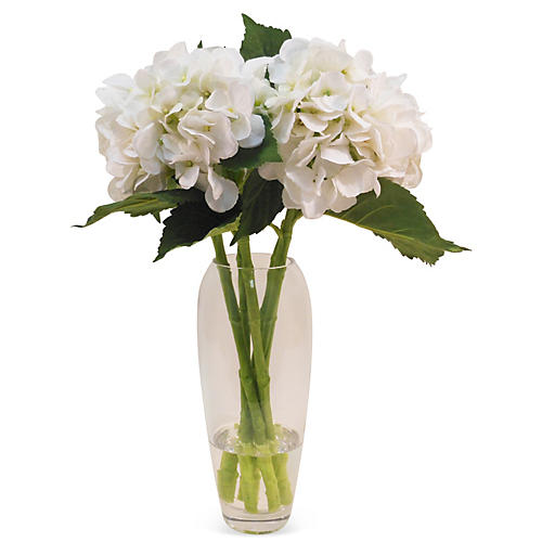 """20"""" Hydrangea in Glass Vase, Faux"""