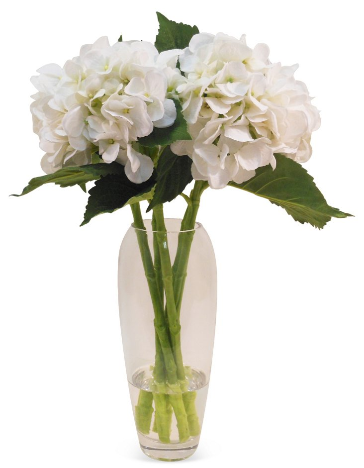 "20"" Hydrangea in Glass Vase, Faux"