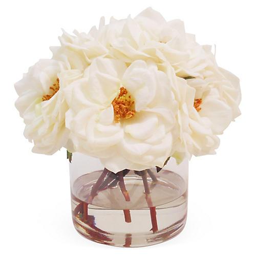 """10"""" Roses in Cylinder Vase, Faux"""