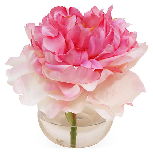 "7"" Peony in Bubble Vase, Blush"