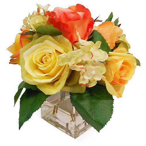 """7"""" Rose & Hydrangea in Vase, Faux"""