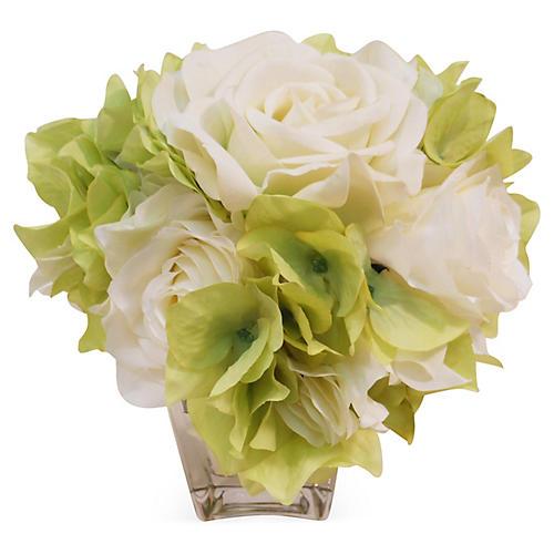 """8"""" Rose & Hydrangea in Vase, Faux"""
