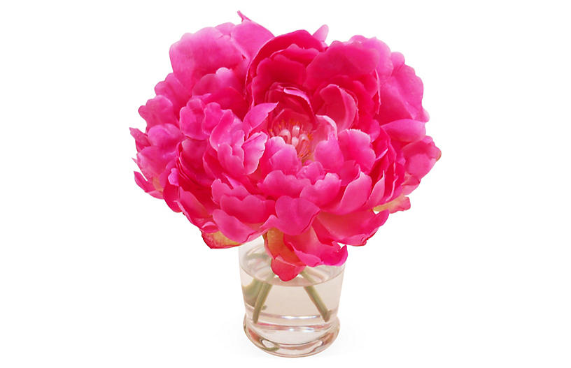 7 Peony In Vase Faux Arrangements Floral Greenery Home