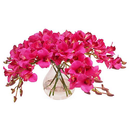 """20"""" Dendrobium in Vase, Faux"""