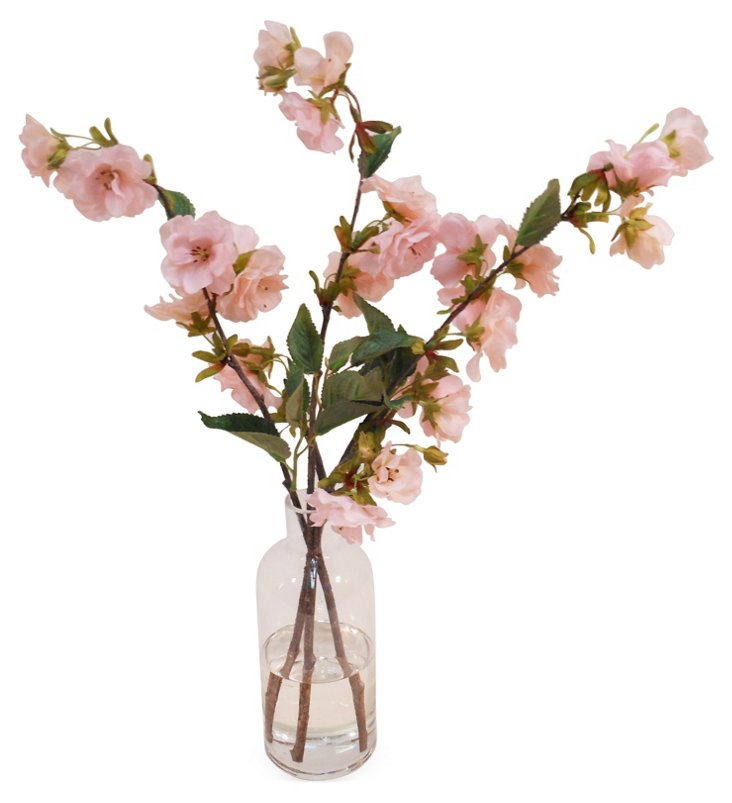 "21"" Cherry Blossom in Bottle Vase, Faux"