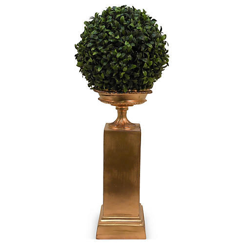 "23"" Boxwood Ball in Pedestal, Faux"