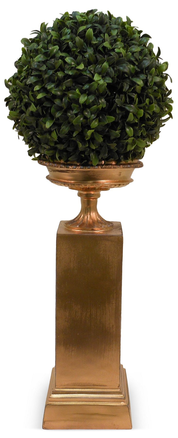 """23"""" Boxwood Ball in Pedestal, Faux"""