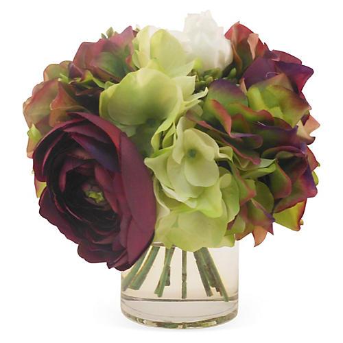"8"" Peony & Hydrangea in Vase, Faux"