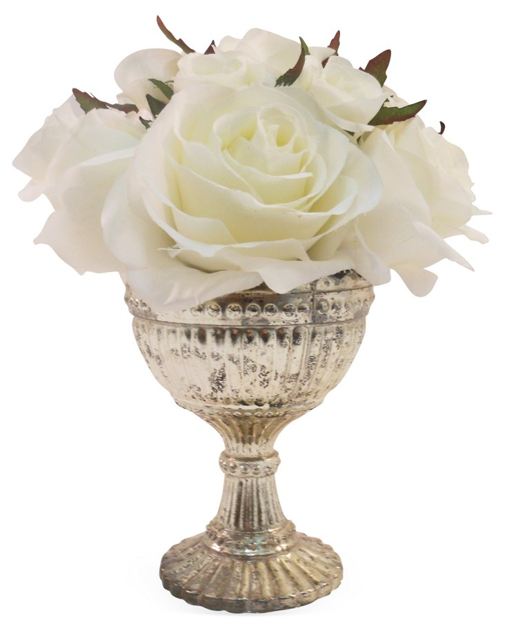"8"" Roses in Cup, Faux"
