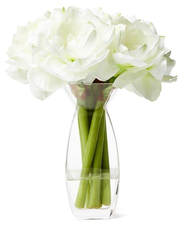 "16"" Amaryllis in Glass Vase, Faux"