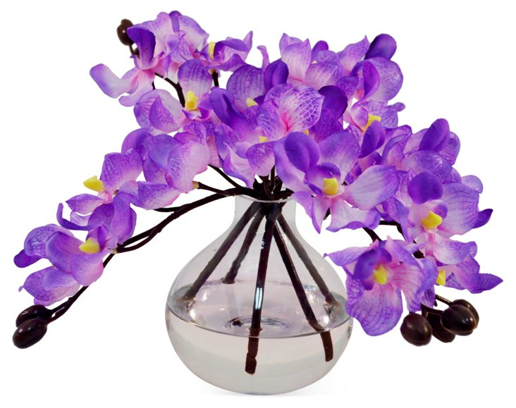 "7"" Vanda in Bubble Vase, Faux"