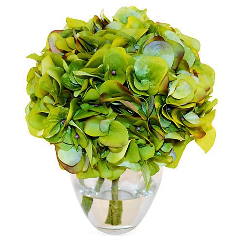 "10"" Hydrangea in Garden Vase, Faux"