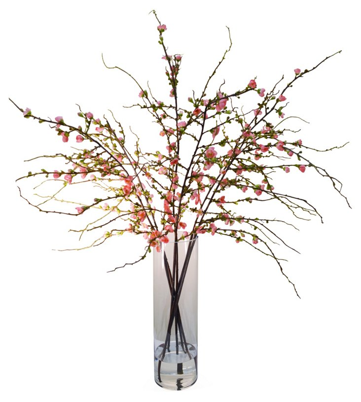 "48"" Cherry Blossom in Vase, Faux"