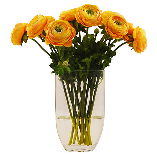"15"" Ranunculus in Vase, Faux"