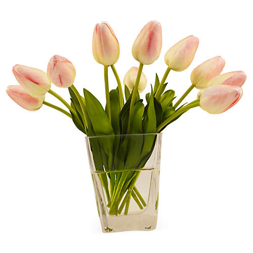"10"" Tulips in Vase, Pink"