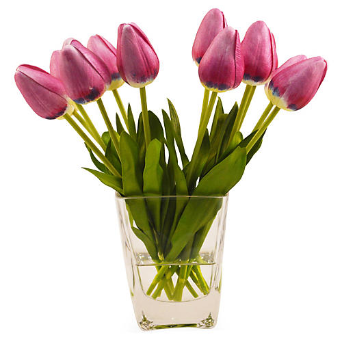 "10"" Tulips in Vase, Faux"