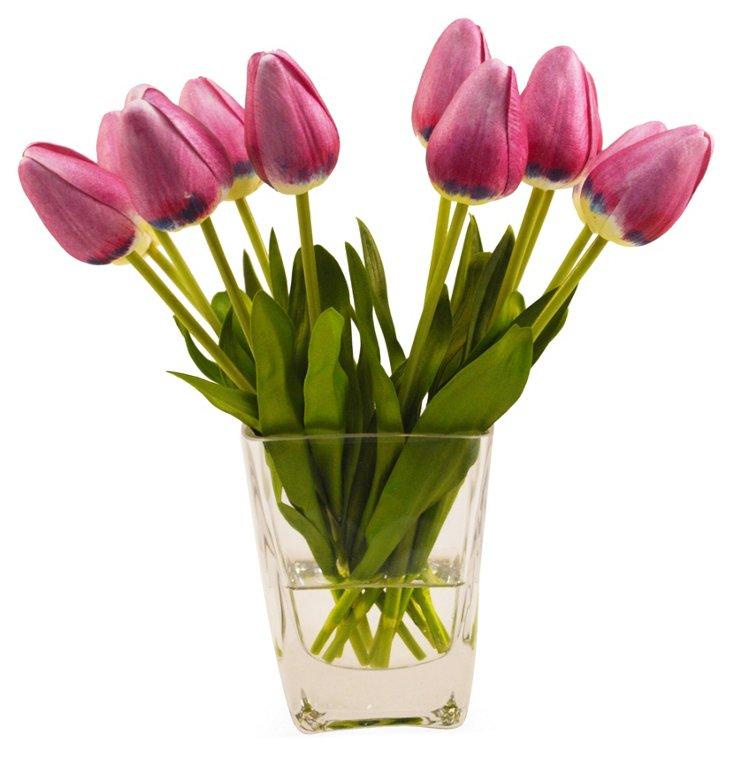 """10"""" Tulips in Vase, Faux"""
