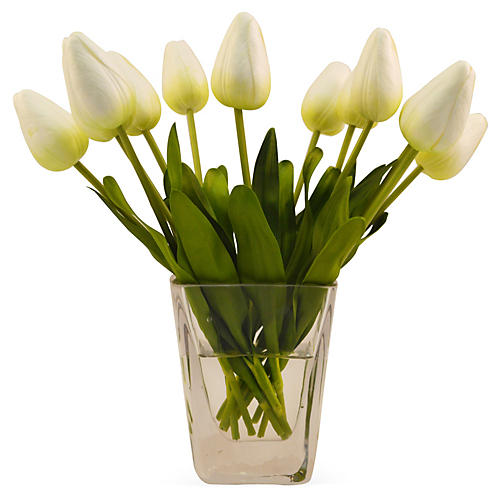 "10"" Tulips in Vase, White"