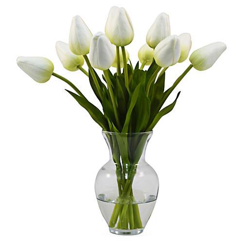 """11"""" Tulips in Vase"""