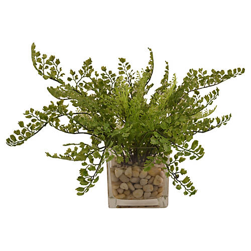 "16"" Maidenhair Fern in Vase, Faux"