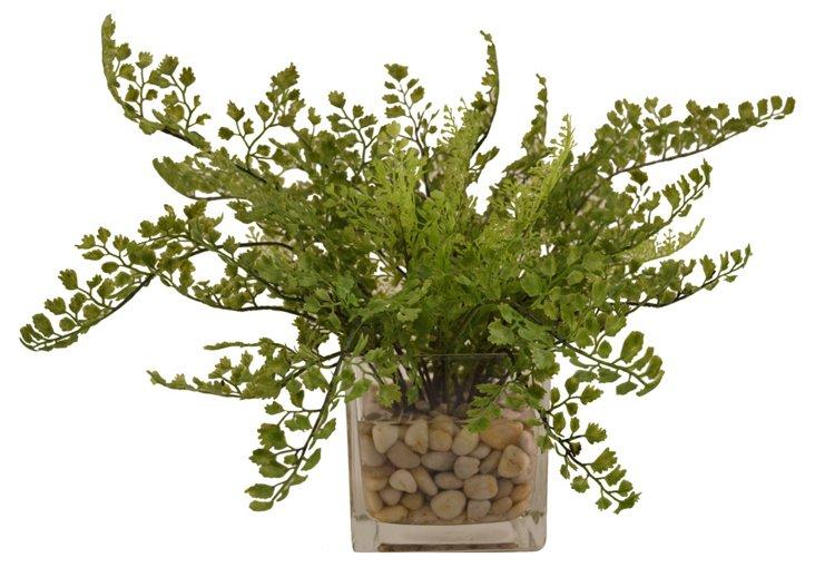 """16"""" Maidenhair Fern in Vase, Faux"""