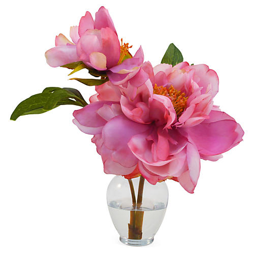 "11"" Peony in Vase, Pink"