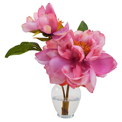 "11"" Peony in Vase, Pink"