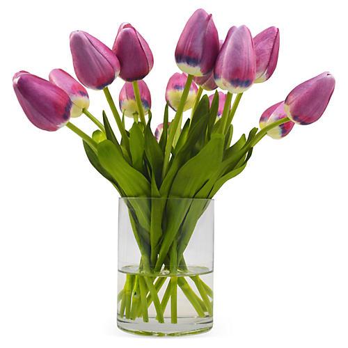 "10"" Tulips in Vase, Purple"