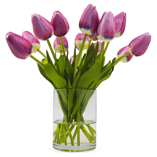 "10"" Tulips in Vase, Purple"