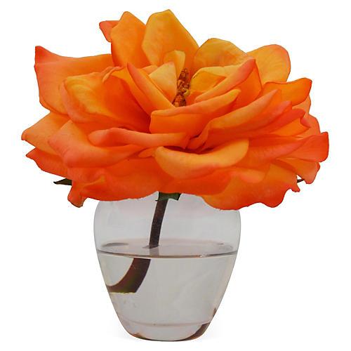 """5"""" Rose in Vase, Orange"""