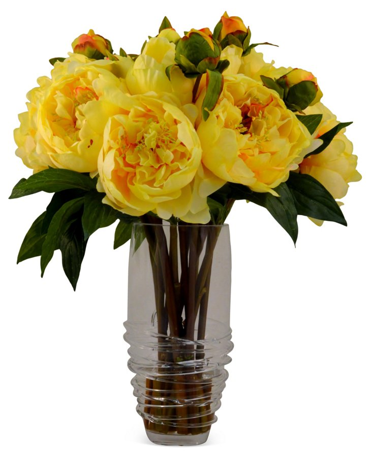 """18"""" Peony Bunch in Vase, Faux"""