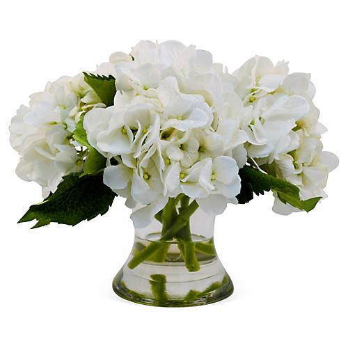 "14"" Hydrangea in Flared Vase, Faux"