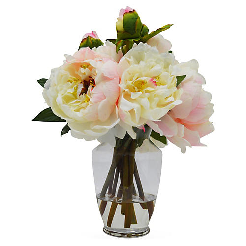 "14"" Peonies in Vase, Faux"