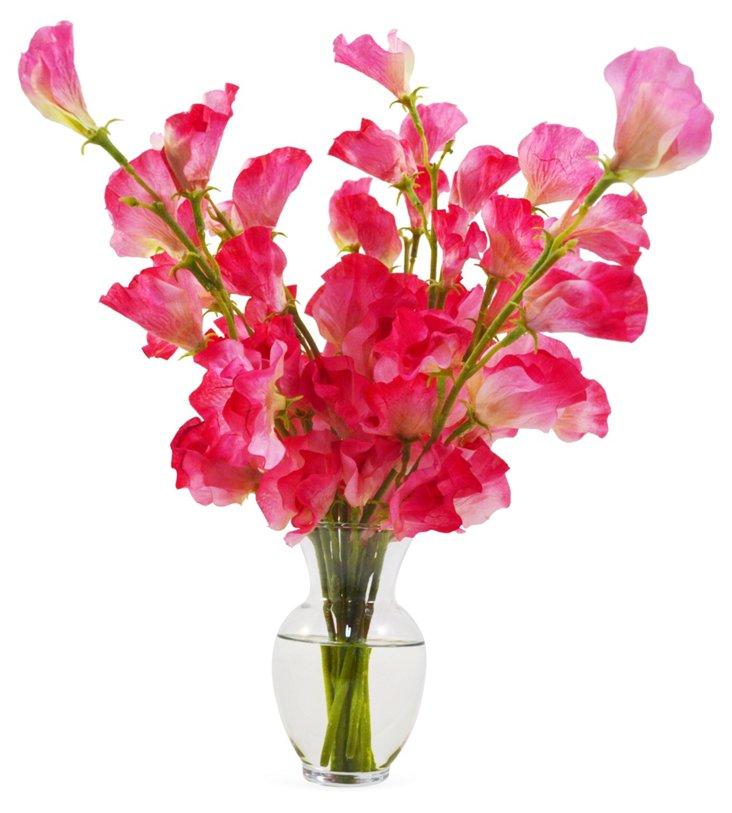 "15"" Sweet Pea in Vase, Faux"