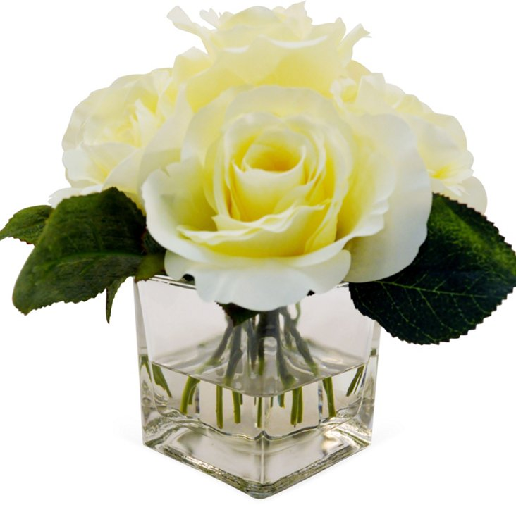 "9"" Rose in Vase, Faux"