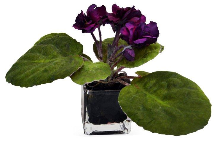 """9"""" African Violet in Vase, Faux"""