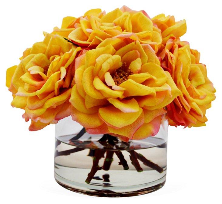 "11"" Bloomed Roses in Vase, Faux"
