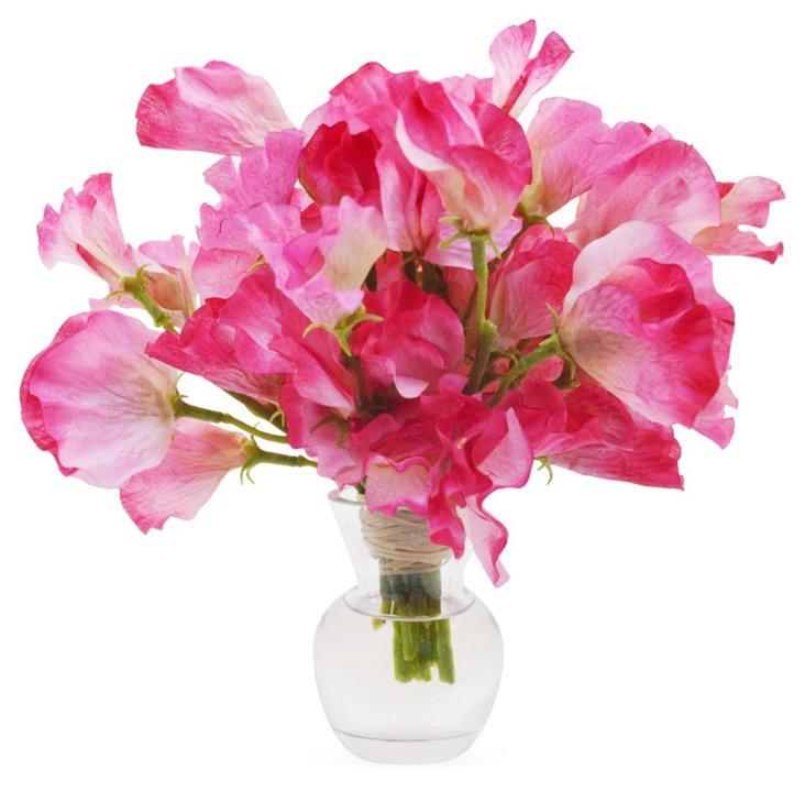 "9"" Sweet Pea in Vase, Faux"
