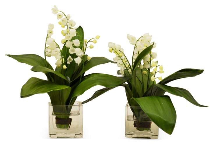 "S/2 10"" Lilies of the Valley, Faux"