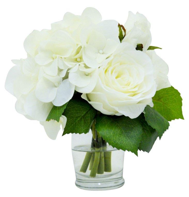 """6"""" Rose & Hydrangea in Vase, Faux"""