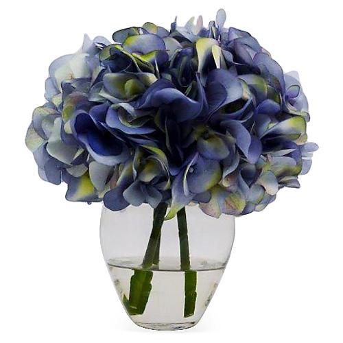 """10"""" Butterfly Hydrangea in Vase, Faux"""