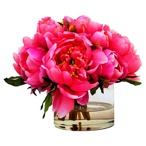 "8"" Peonies in Cylinder, Faux"