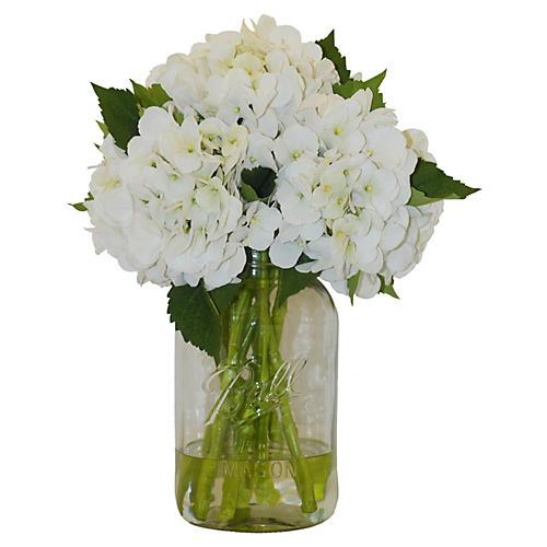 """17"""" Hydrangea in Mason Jar, Faux"""