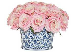 """15"""" Roses in Planter, Faux*"""