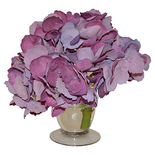 "9"" Hydrangea in Parfait Vase, Faux"