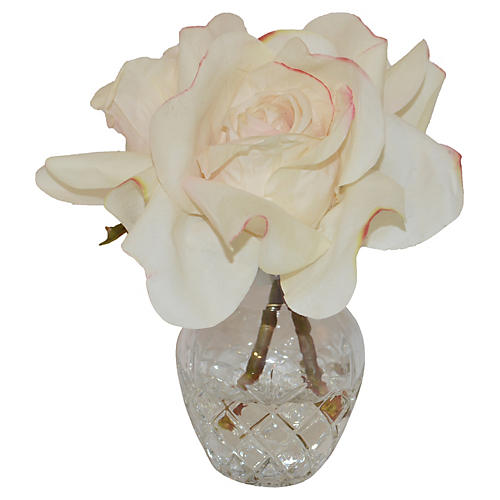 "8"" Rose in Vase, Faux"