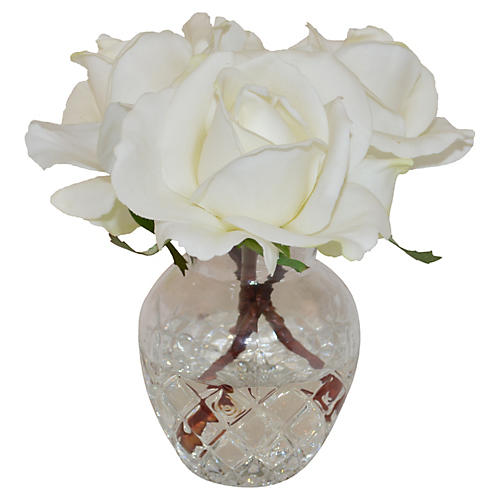 """7"""" Rose Buds in Glass Vase, Faux"""