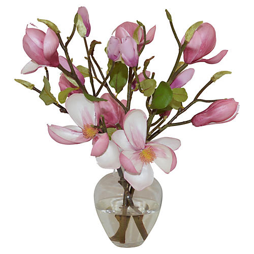 "15"" Magnolias in Garden Bouquet, Faux"