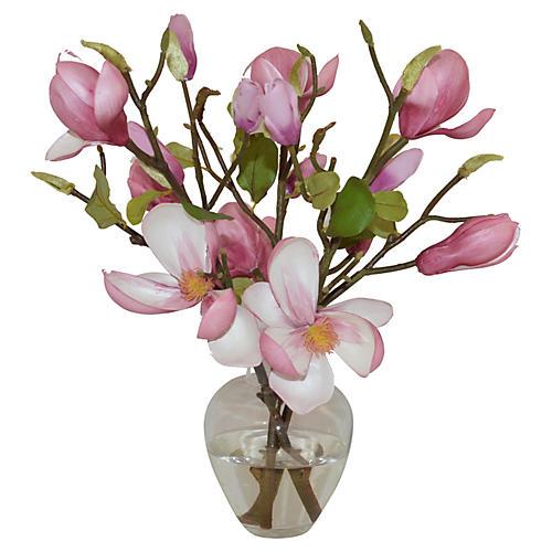 "15"" Magnolias in Garden Bouquet, Faux"